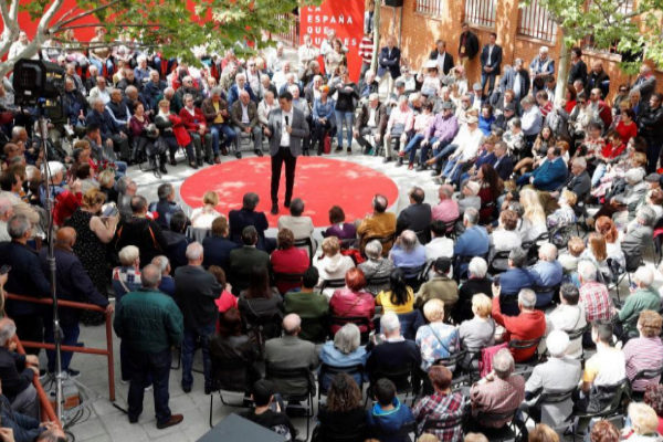 Pedro Sánchez, durante un acto electoral del PSOE en Madrid.