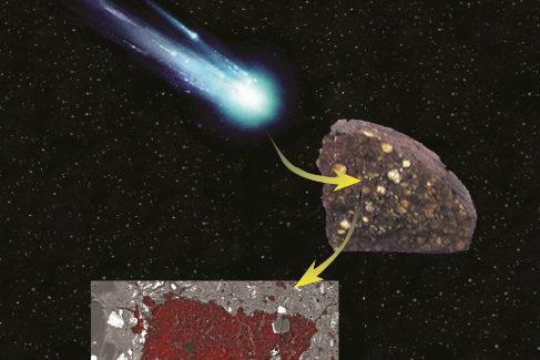 Representación del cometay el meteorito primitivo.