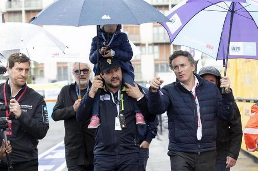 El vicepresidente italiano, Matteo Salvini, este lunes, junto al presidente de la Fórmula E, Alejandro Agag,
