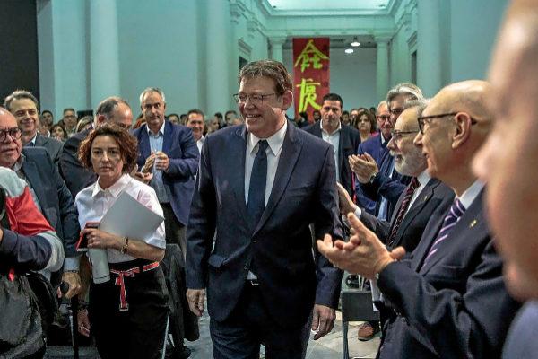 El presidente de la Generalitat y candidato a la reelección por el PSPV, Ximo Puig, ayer, en la presentación de su programa electoral.