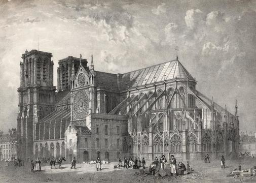 The great cathedral of <HIT>Notre</HIT> Dame on the Ile de la City, Paris. The spire was not added until the 19th century. (Photo by Hulton Archive/Getty Images)