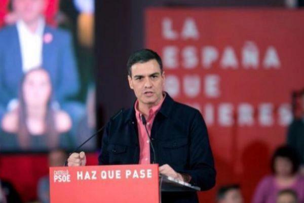 Pedro Sánchez, durante su acto de campaña.