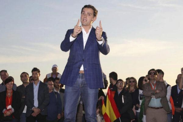 Alber Rivera, el pasado viernes, durante un acto electoral en Málaga.