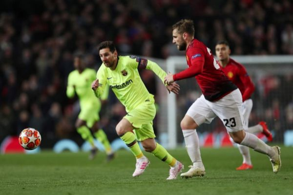 Messi durante el partido de ida entre FC Barcelona y Manchester