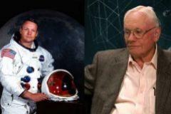 Armstrong durante su etapa de astronauta y en su vejez