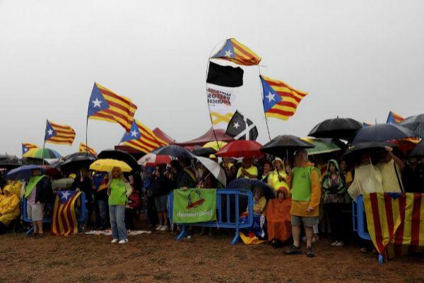 Acto de simpatizantes independentistas ante la prisión de Lledoners en agosto