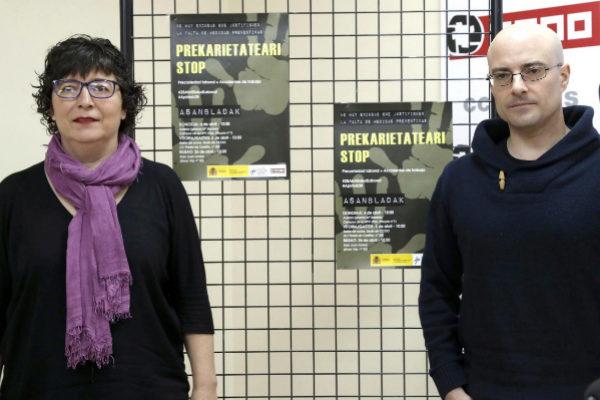 Loli García y Alfonso Ríos, en la sede de CCOO Euskadi.