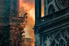 Las llamas amenazan las famosas gárgolas de la catedral de Notre Dame en París con las vidrieras en primer plano.