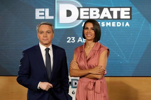 Vicente Vallés y Ana Pastor, presentadores del debate de Atresmedia