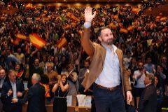 Santiago Abascal, en un acto de campaña este lunes en Valladolid