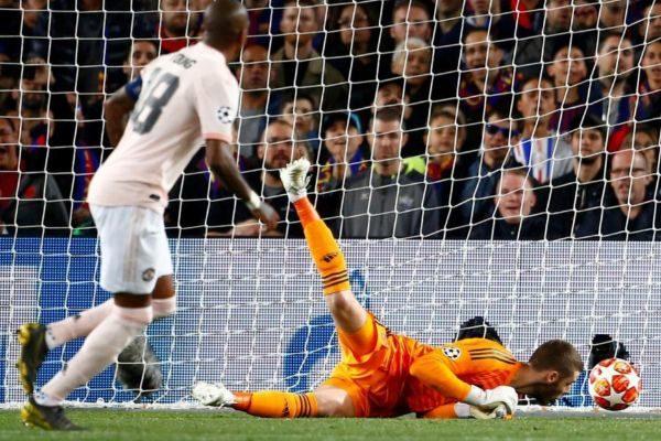El fallo de De Gea, en la acción que valió el 2-0 en el Camp Nou.