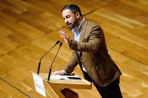 Santiago Abascal, en un acto de campaña en Valladolid
