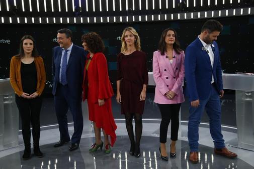 Los seis candidatos en el debate de TVE