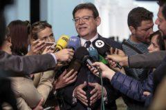 El presidente de la Generalitat y secretario general del PSPV-PSOE, Ximo Puig, en la presentación del programa electoral de los socialistas valencianos.