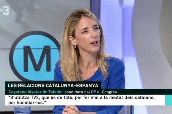 Cayetana Álvarez de Toledo durante una entrevista en TV3.