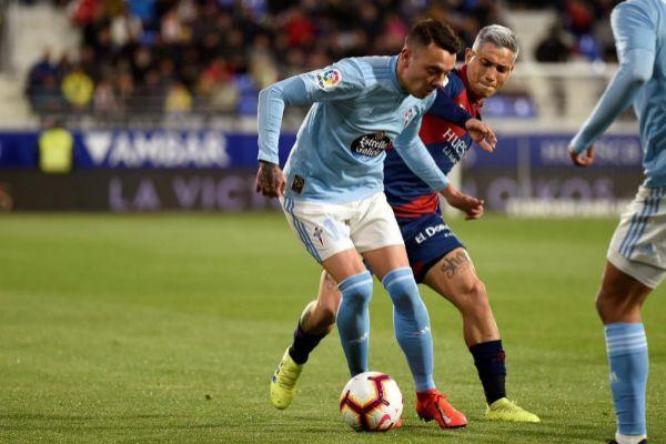 Aspas, en el partido ante el Huesca.