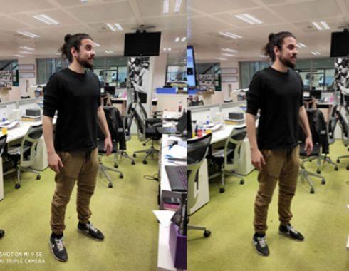 A la derecha, foto sin retoque tomada con el Mi 9 SE. A la izquierda, con retoque de piernas en el propio móvil para adelgazar la figura.