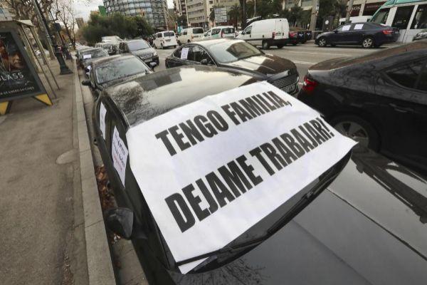 Protesta de las VTC en Barcelona.