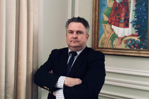 Sergiy Kyslytsya, viceministro de Exteriores, durante la entrevista.
