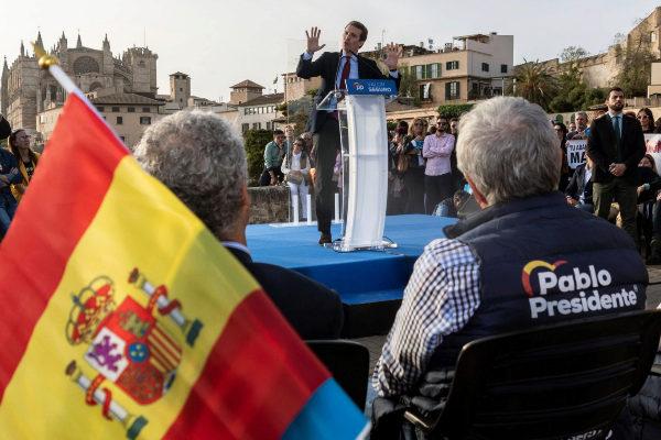 Pablo Casado, presidente del Partido Popular y candidato a la Presidencia del Gobierno, durante un mitin hoy en Palma de Mallorca.