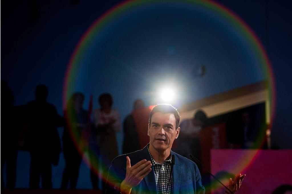 Pedro Sánchez interviene en el acto del PSOE celebrado este miércoles en Palma.