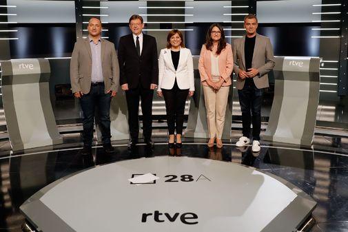 Los cinco candidatos a la Presidencia de la Generalitat que han participado en el debate de RTVE.