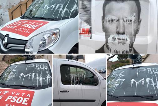 La furgoneta del PSOE ha amanecido con pintadas.