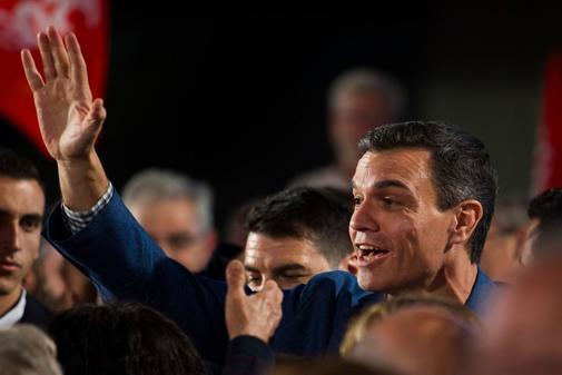 Pedro Sánchez en un mitin en Palma de Mallorca