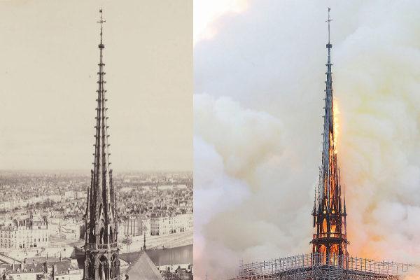 A la izquierda, la 'flecha' de la catedral de Notre Dame, inaugurada en 1859. A la derecha, este lunes, minutos antes de caer vencida por las llamas.