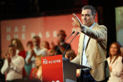 Pedro Sánchez, durante un mitin del PSOE en Tenerife.