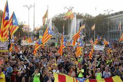 Manifestación a favor de la independencia de Cataluña en la plaza de Cibeles, en Madrid, el pasado mes de marzo..