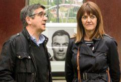 El candidato al Congreso, Patxi López, junto a Idoia Mendia, hoy en Bilbao.