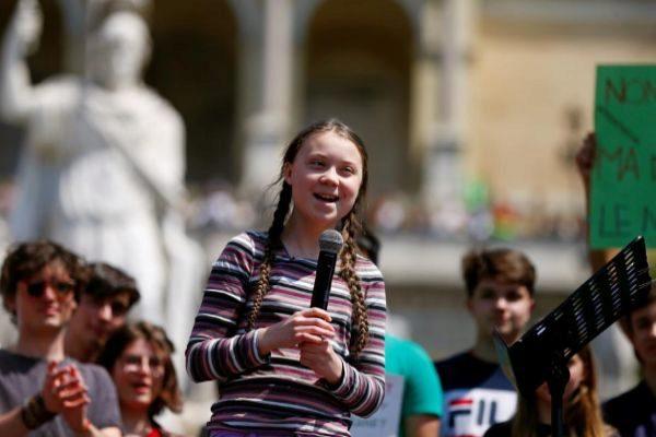 La activista sueca Greta Thunberg en una manifestación, en Roma