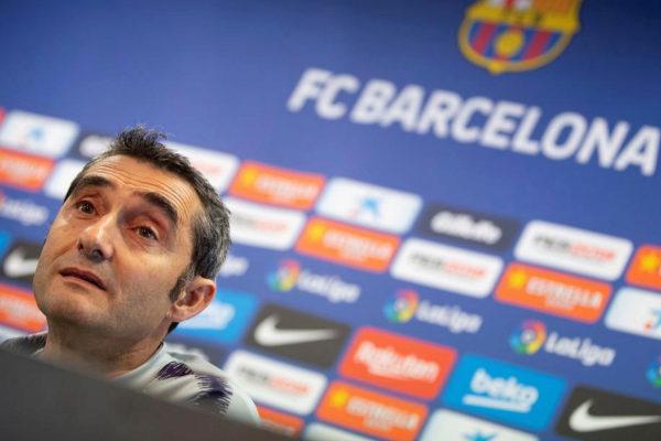 Ernesto Valverde, durante la rueda de prensa.