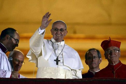 El Papa Francisco el d�a que fue elegido nuevo Papa.
