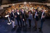 Pablo Casado, junto a los líderes del PP valenciano, en Alicante.