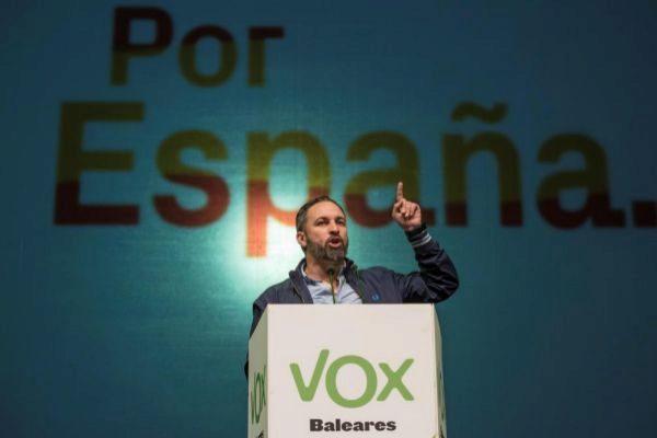 El líder de Vox, Santiago Abascal, durante su mitin en Palma.