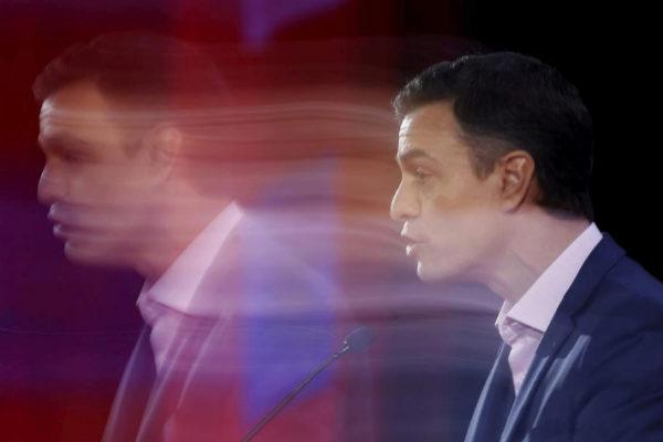 Pedro Sánchez, durante una intervención en un acto en Lisboa, el...