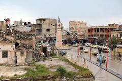 La torre del reloj en la plaza donde el IS realizó ejecuciones, en Raqqa.