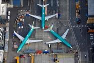 Imagen aérea de varios Boeing 737 MAX inmovilizados en la fábrica de Renton, Washington.