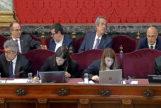 Jordi Turull, Jordi Sànchez, Joaquim Forn y Raül Romeva, en la fila superior, durante una sesión del juicio del 1-O, el pasado lunes.
