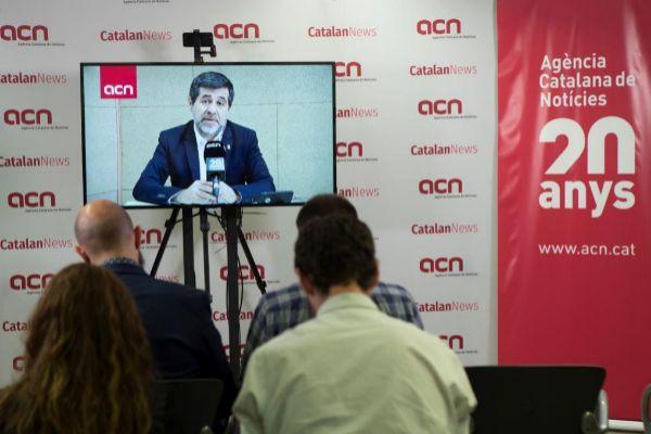 GRAF4883. BARCELONA.- El cabeza de lista de JxCat para el 28-A, <HIT>Jordi</HIT> <HIT>Sánchez</HIT>, ofrece una rueda de prensa desde la cárcel de Soto del Real por vía telemática organizada por la ACN.