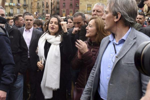 Inés Arrimadas, durante un acto de Ciudadanos el jueves en Vic.