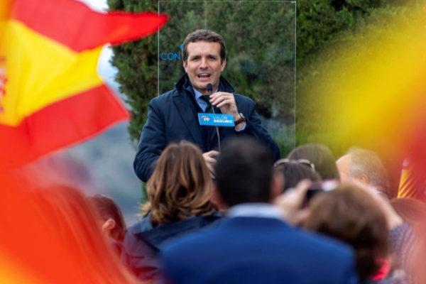 Pablo Casado, durante el mitin del PP en Toledo.