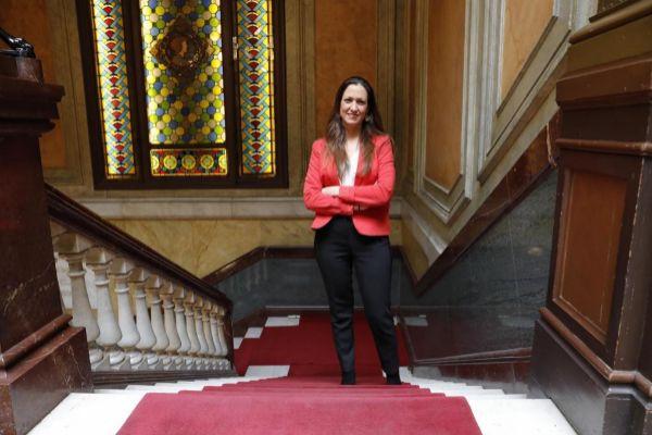 La decana del Ilustre Colegio de Abogados de Barcelona durante la entrevista.