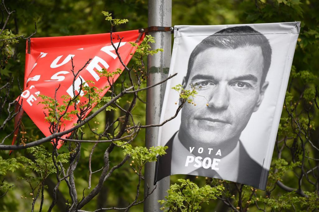 Un cartel electoral de Pedro Sánchez,