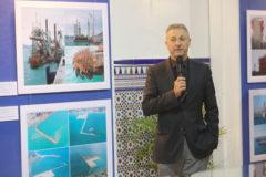 El presidente del puerto de Castellón, Francisco Toledo, en la exposición en el edifico Moruno del Grao.