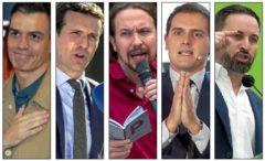 Los candidatos de los cinco principales partidos de ámbito nacional, Pedro Sánchez, Pablo Casado, Pablo Iglesias, Albert Rivera y Santiago Abascal.