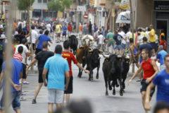 Un encierro de toros en el Grao de Castellón.