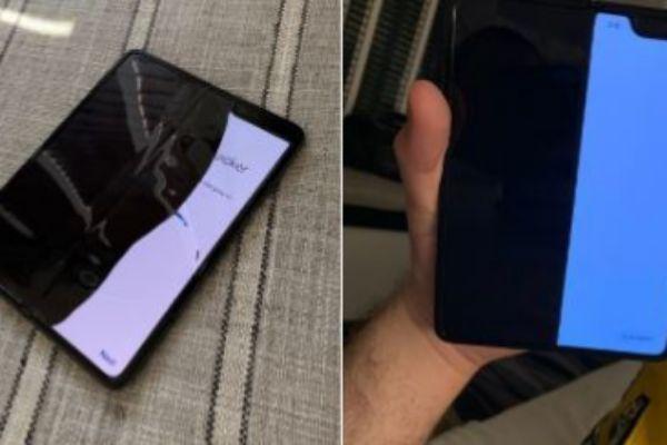 Imágenes del Galaxy Fold con la pantalla rota del periodista de Bloomberg Mark Gurman